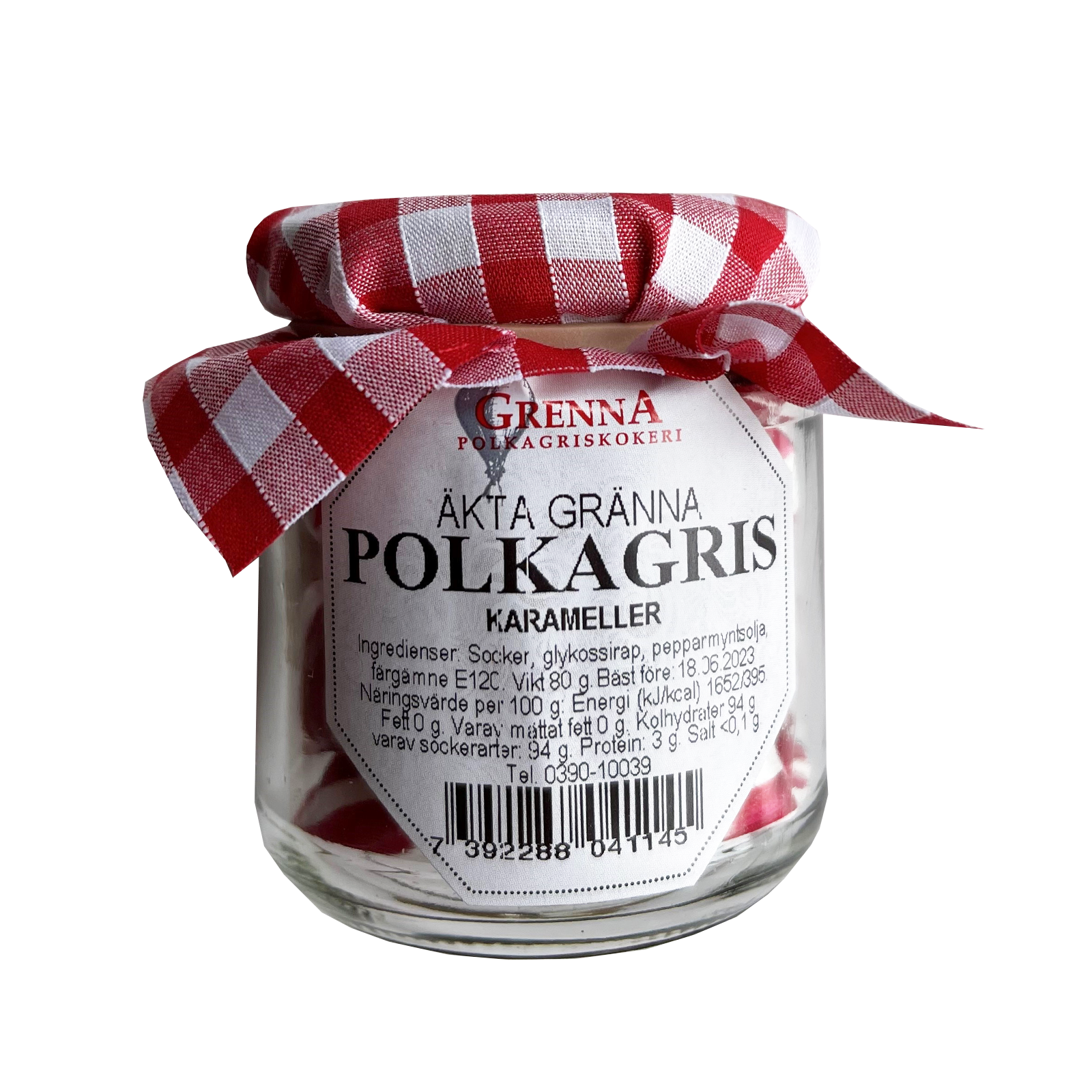 Small glass jar with peppermint sweets